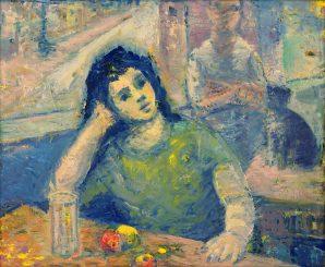 Ján Mudroch - Zamyslená pri stole