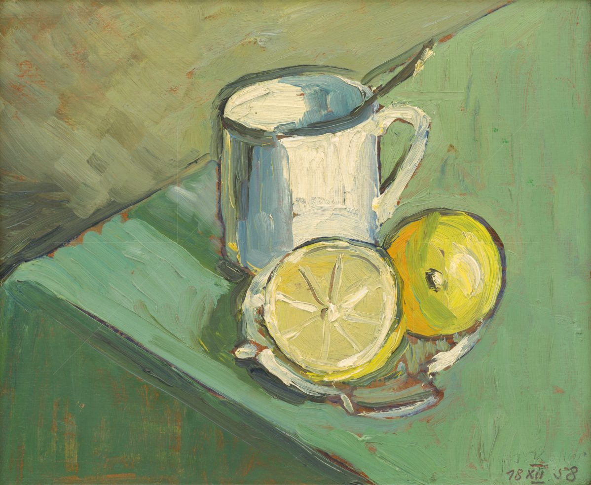Jozef Kollár - Zátišie s hrnčekom a citrónom