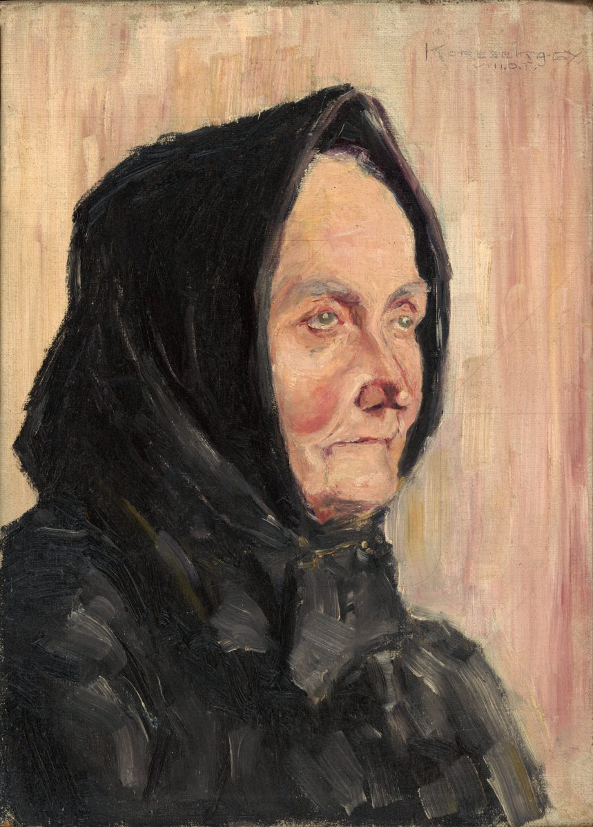 Július Koreszka - Portrét starej ženy v čiernej šatke