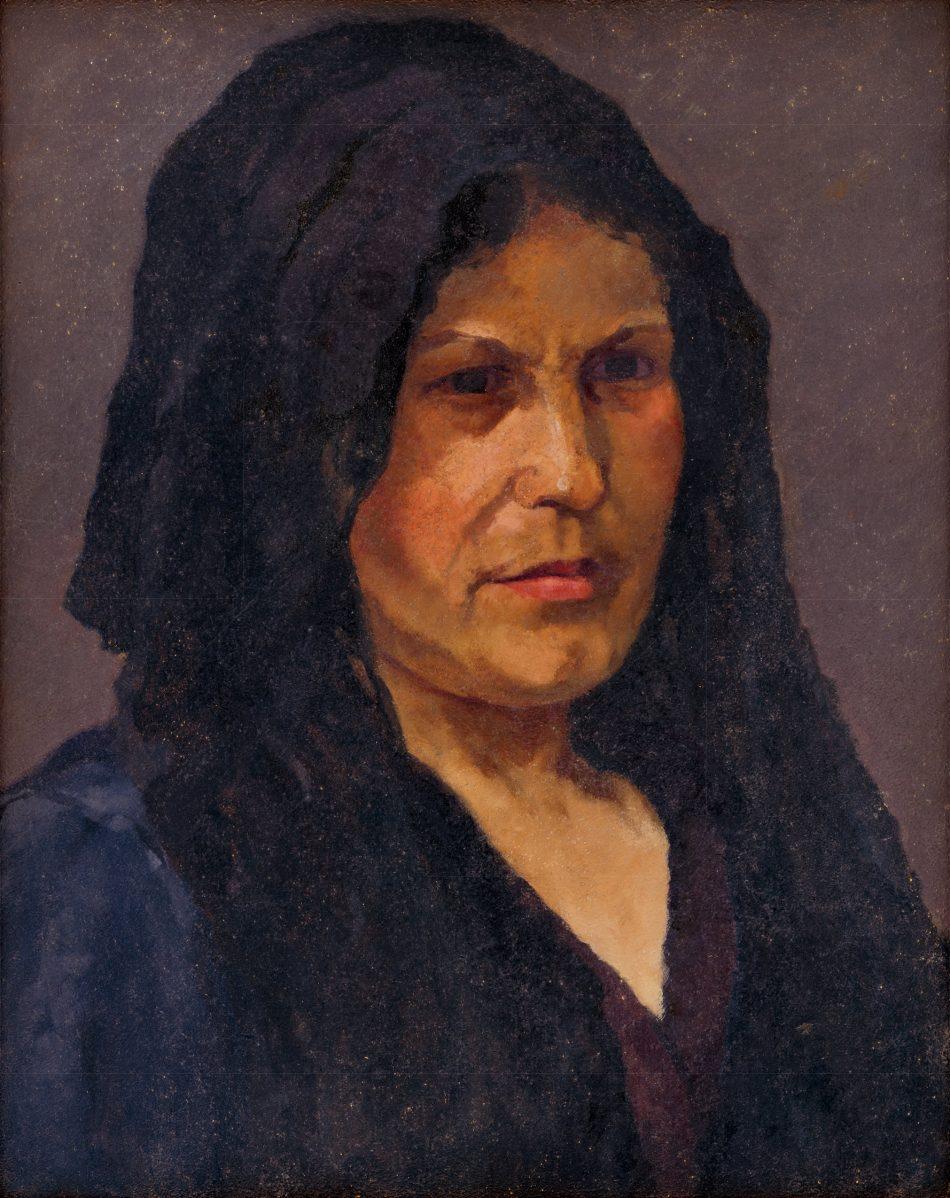 Július Koreszka - Portrét ženy v čiernom závoji