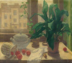 Július Koreszka - Zátišie s kvetmi a ovocím